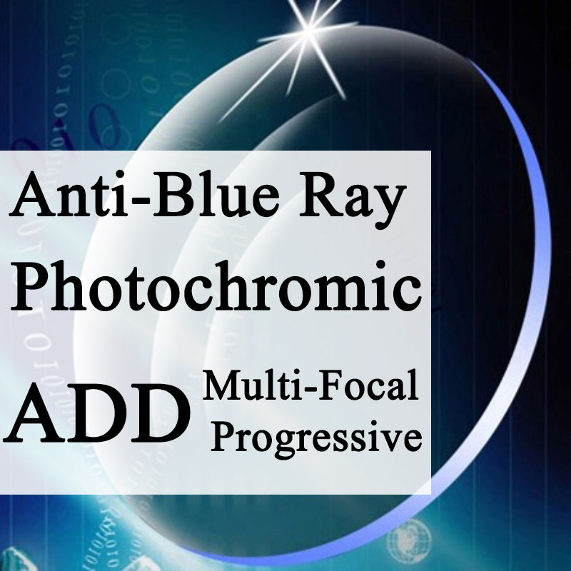A Pair Lenses Progressive Multi focus Photochromic Anti Blue Ray Lens Aspheric Prescription Myopia Presbyopia Anti