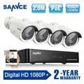 SANNCE 4CH 1080P Network POE NVR Kit CCTV Security System 2.0MP IP Camera Outdoor IR Night Vision Surveillance Camera System