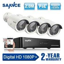 SANNCE Kit Sistema de Seguridad CCTV 4CH 1080 P Red NVR POE 2.0MP Cámara IP Al Aire Libre IR de Visión Nocturna Cámara de Vigilancia sistema