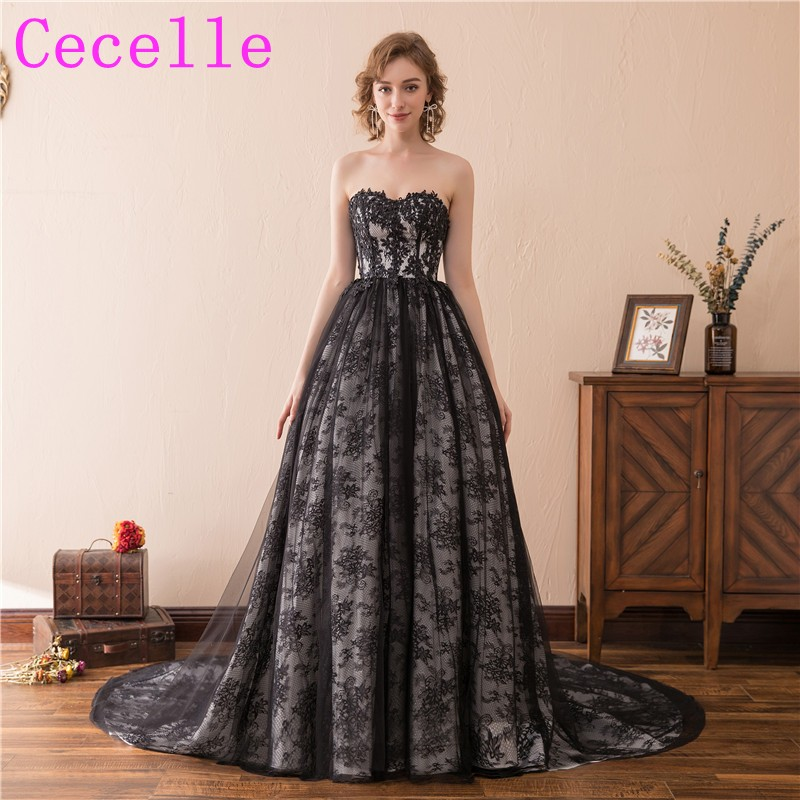 Black Gothic Ball Gown Wedding Dresses With Color Lace