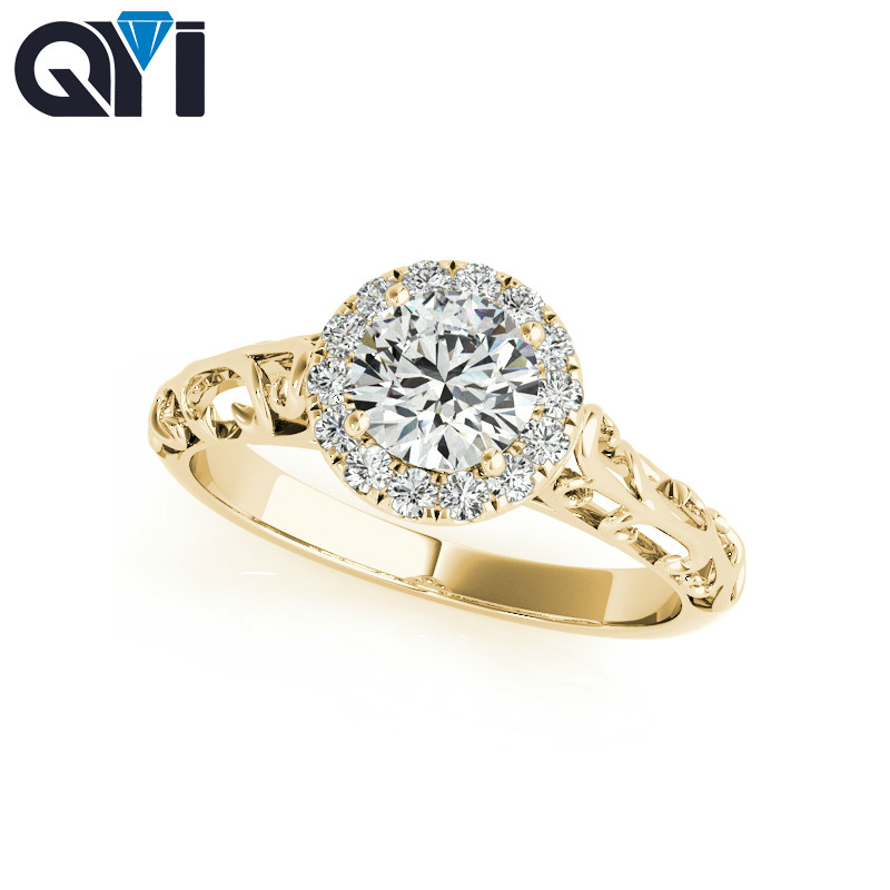 Fine Jewelry Rings Hearty Qyi Solid Yellow 10k Gold Rings Women Engagement Round Cut 0.5 Ct Sona Simulated Diamond Jewelry Women Wedding Ring Agreeable Sweetness