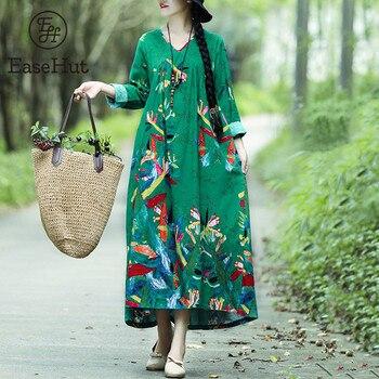 6287c42f62f89 EaseHut Kadınlar Boho Vintage Gevşek rahat elbise Baskılı Pamuk keten  elbise uzun kollu Büyük Boy Robe Maxi uzun elbise Vestidos