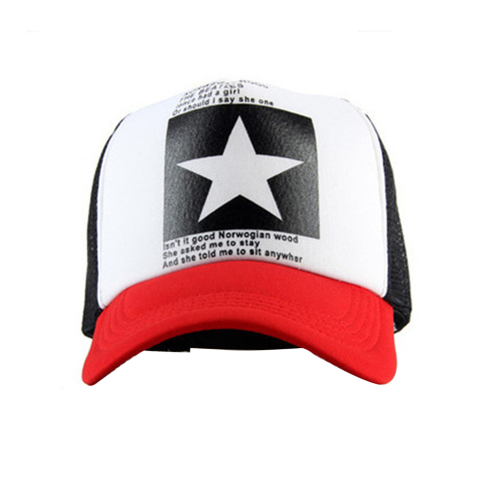 1489c46460da Summer men and women five-pointed star hat black and white multi-color  couple