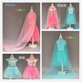 EMS DHL Free shipping little girls Princess Dress summer 2016 Pink Blue Halloween Elsa Dress Princess Dress Ice queen Cape Dress