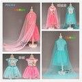 EMS DHL Free shipping little girls Princess Dress summer 2016 Pink Blue Halloween Elsa Dress Princess Dress Ice queen Cape Dress