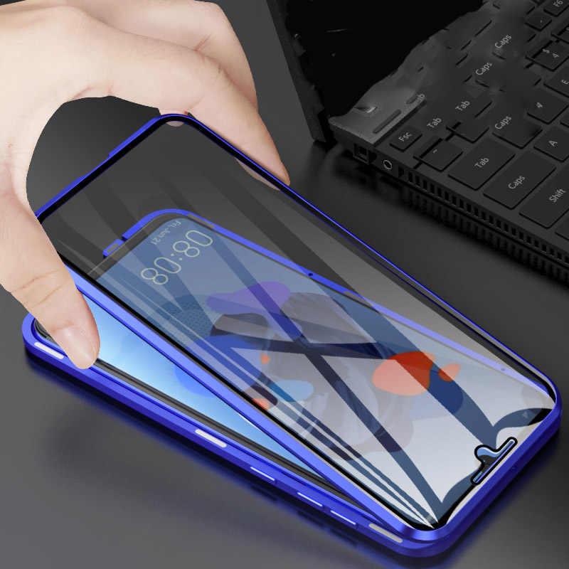 R-فقط المغناطيسي المعادن الوفير حافظة لهاتف Huawei نوفا 5 برو الزجاج المقسى الجبهة الغطاء الخلفي لهواوي نوفا 5/ نوفا 5 برو حالة