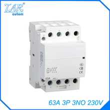 Modular three pole household small AC contactor Household AC Power Contactor Modular 63A 3P 3NO 230V стоимость