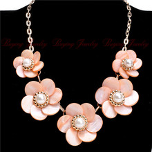 Gold Chain Colorful Shell Flower White Pearl Chunky Collar Bib Necklace Wholesale Price Jewelry