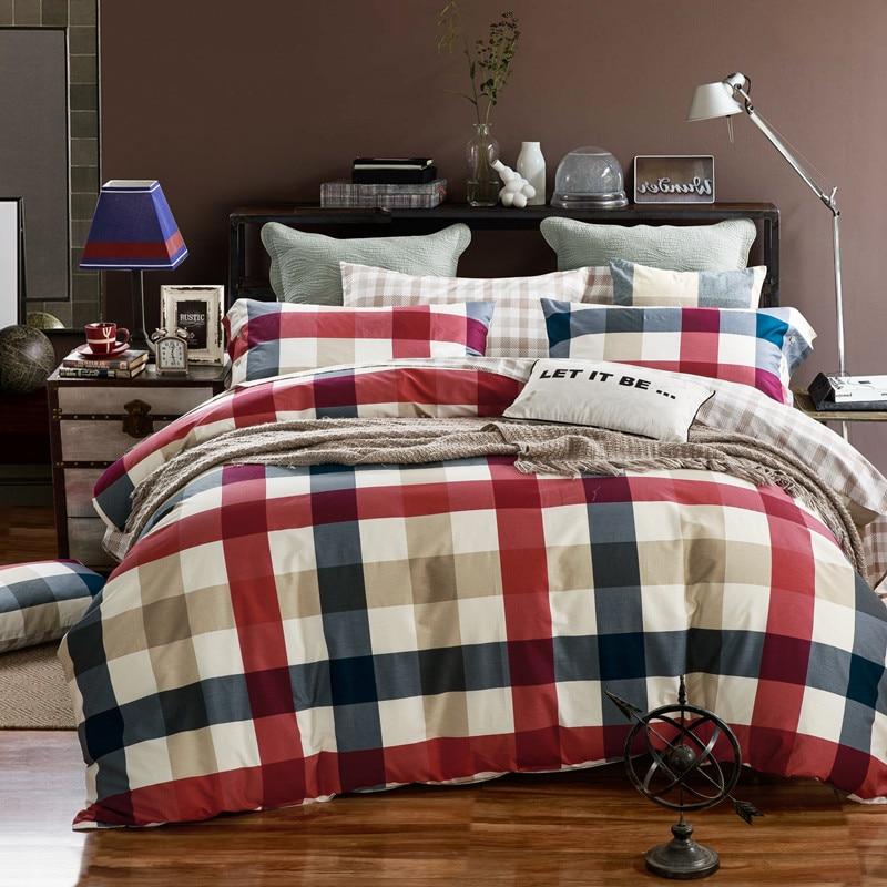 100% algodón Plaid juegos de cama reina tamaño king funda de edredón ...