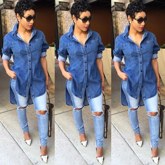 2016 Irregular Long Sleeved Denim Dress Shirt Women Jeans