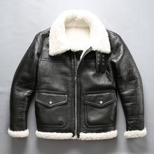 男性のムートン革ジャケット冬パイロットジャケット厚いメリノ羊の毛皮のジャケットナチュラルホワイト毛皮のコートの男性のフライトジャケット男性