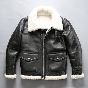 Image 1 - Mannen shearling leren jas winter piloot jas dikke Merino schapen bont jas natuurlijke witte bontjas mannen vlucht jas mannelijke