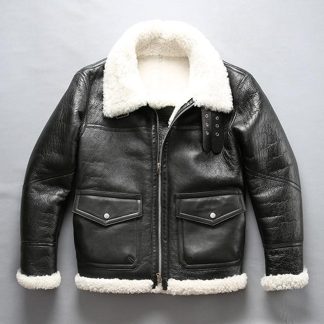 Mannen shearling leren jas winter piloot jas dikke Merino schapen bont jas natuurlijke witte bontjas mannen vlucht jas mannelijke