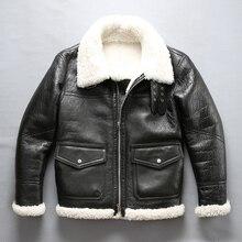 mens shearling leather jacket winter pilot jacket thick Merino sheep fur jacket natural white fur coat men flight jacket male