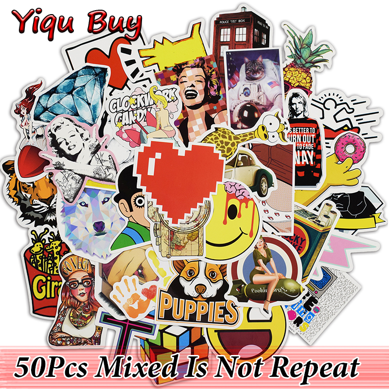 New 50Pcs Mixed Cool Stickers for Car Styling Motorcycle Skateboard Laptop Phone Bicycles Vinyl Decals DIY