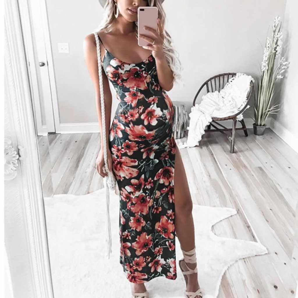 נשים סקסי שמלות ללא שרוולים קלע בהריון יולדות פרחוני הדפסת לשרוך חוף מזלג פתיחה ללא משענת ארוכה שמלת חתונת kleid