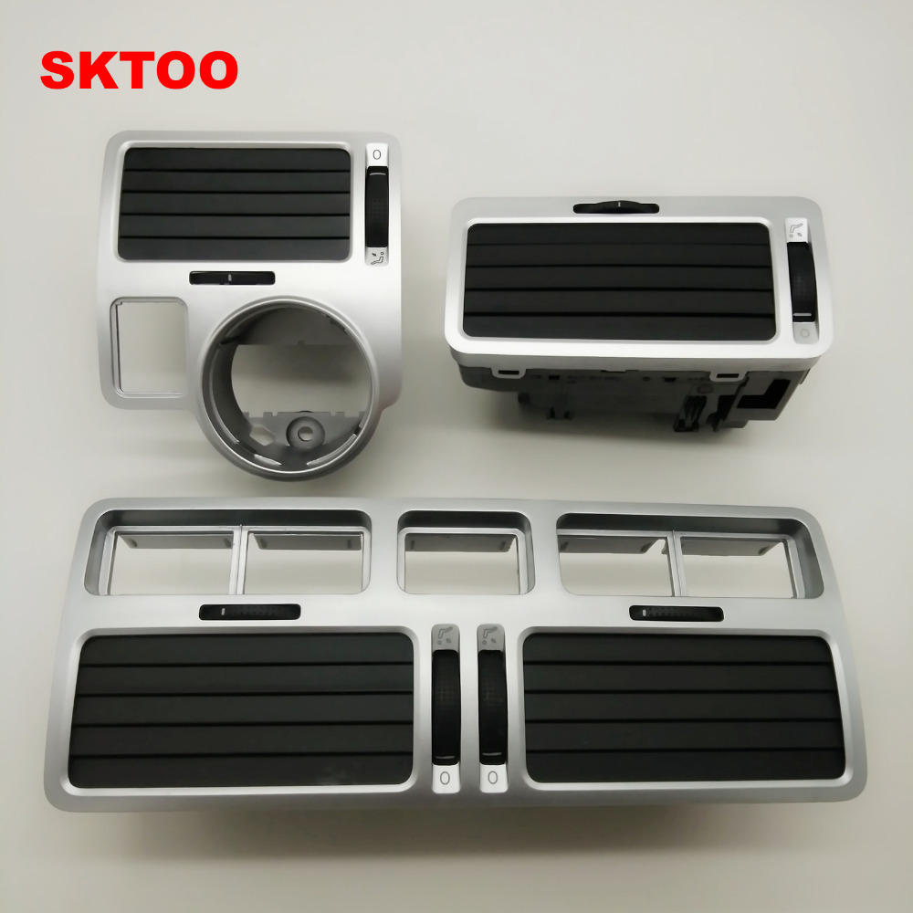 SKTOO Silver For VW bora golf 4 instrument air outlet central air-conditioning air outlet,a set air outlet air conditioning tuyere decorative box outlet decoration ring air conditioning mouth molding for toyota rav4 2015