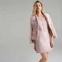 Handmade Luxury Dress Suits for Women Fashion Tweed O Neck Dress and Tassel Short Blazers Suits Pink