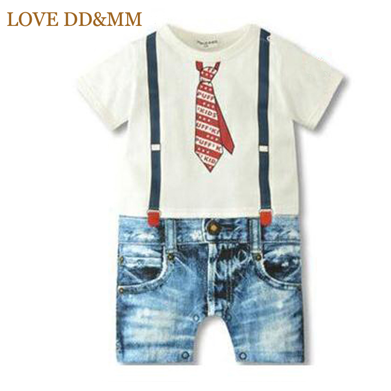 LOVE DD&MM Baby Boys Clothes Summer Newborn Baby Rompers Boys Clothes Tie Strap Short Sleeves Cotton Overalls Pattern Jumpsuit