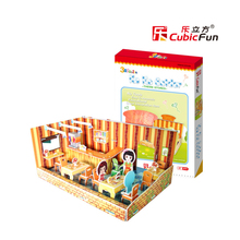 Cubic Fun Theme Stores Paper Puzzle Toy DIY Cartoon KOKO Eatdar Model Barber Shop Papercraft Puzzles Creative Kids Toys Juguetes