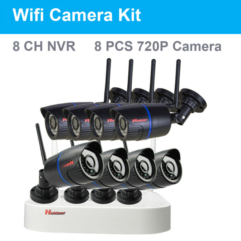 720P Wifi IP Camera Kit CCTV System 8CH NVR Kit 8pcs Video Output CCTV Home Security