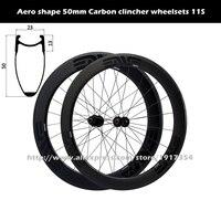 700C 50 mét sợi carbon bánh xe hình ống bánh xe, trọng lượng nhẹ móc sắt bánh xe không săm tương thích 11 Tốc Đ