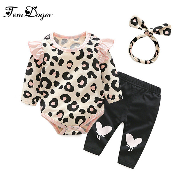 Tem Doger autumn baby girl clothes set newborn leopard rompers+pants+headband 3pcs outfits set infant baby girls clothing suit