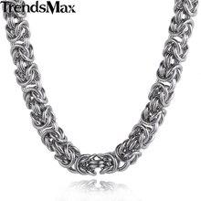 Trendsmax Bizantina de Acero Inoxidable Enlace Collar Para Hombre Collar de Cadena de Oro de Color Plata-color Muchacho Al Por Mayor de Joyería KNM101