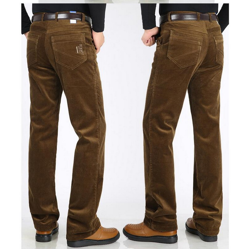 VXO Corduroy Pants High-Waist Men's Trousers Stretch Wintermen's Warm Velvet Thick Plus
