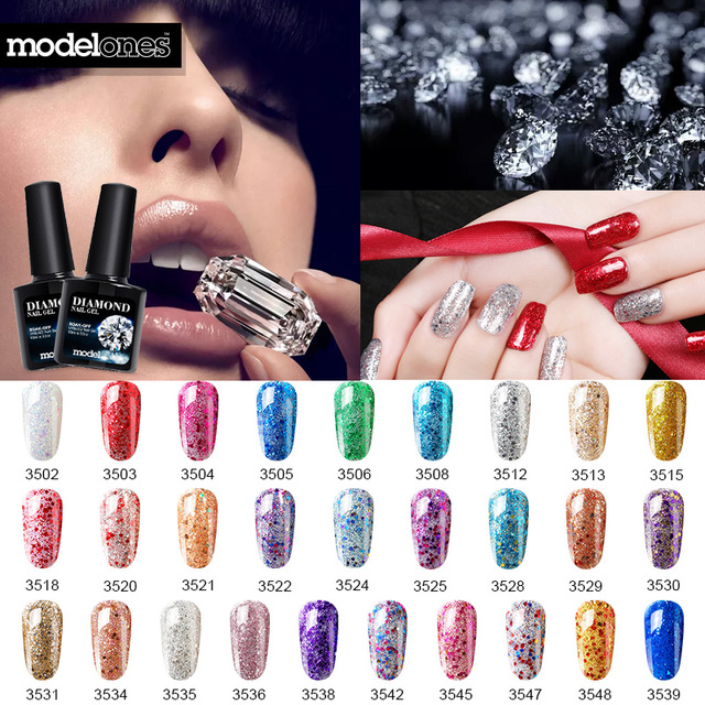 Modelones 10ml Purple Color Glitter Gel Polish Uv Nail Gel Varnish