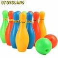 UTOYSLAND 11 cm de Altura Niños Conjunto de Bolos de Plástico Al Aire Libre Mini Interacción Ocio Juguetes Educativos con la Bola y Alfileres