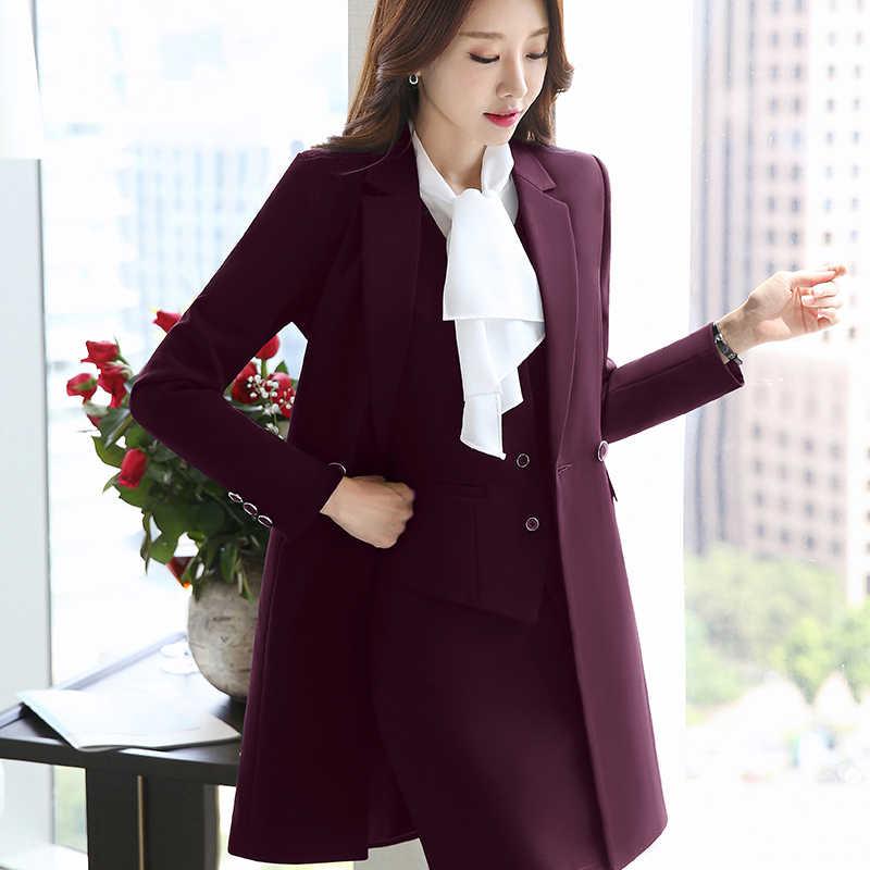 a5d145e03 ... Dos piezas trajes señoras falda Formal traje de oficina uniforme estilo  mujer negocios pantalones traje trabajo ...