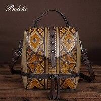 New Brand Embossed Backpack For Girls Brush Color Handmade Retro Elegant Backpack Small School Bag For