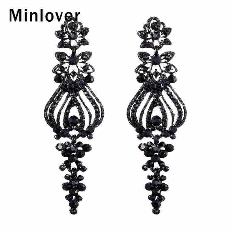 2d8def6c70 Minlover Fashion Black Color Crystal Chandelier Long Earrings for Women  Vintage Rhinestone Big Dangle Earrings Jewelry