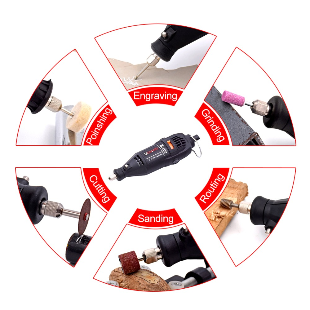 Image 5 - GOXAWEE 220V Electric Mini Drill engraver Variable Speed Rotary with Flexible Shaft 181PCS Accessories Power Tools for Dremel-in Electric Drills from Tools