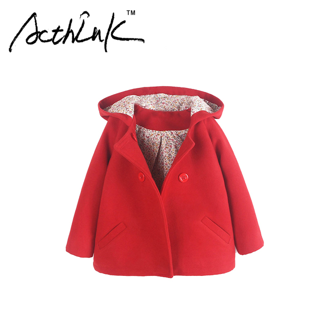 ActhInK New 2017 Girls Woolen Hoodied Coat Brand Princess Style Double-Breasted Jacket for Girls Children European Outwear,MC087