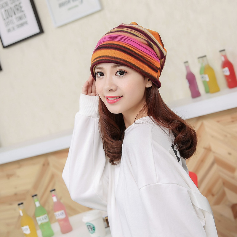 21a52c6638f34 New Women s Fashion Turban Autumn Winter Warm Headdress Caps Hat Colorful  Striped Scarf Work Out Beanies Accessories AQ802911