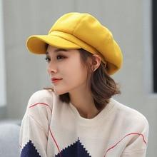 2019 Wool Women Beret Autumn Winter Octagonal Cap Hats Stylish Artist Painter Newsboy Caps Black Yellow Beret Hats
