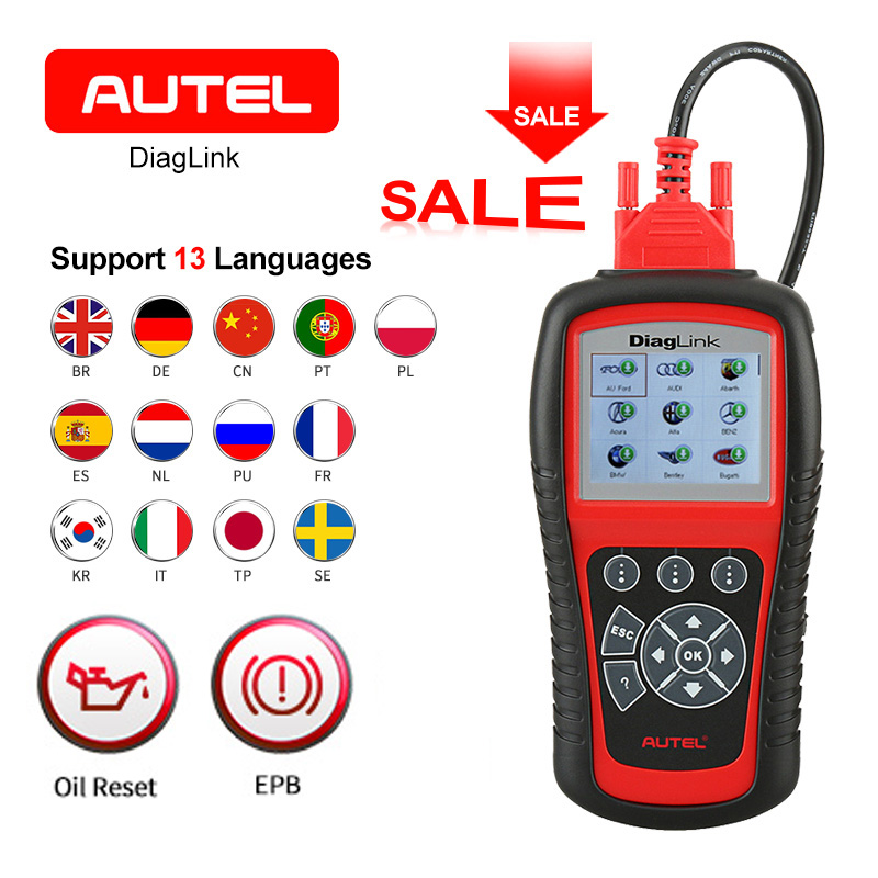 Diaglink OBDII EOBD Car Diagnostic Code Reader AUTEL Oil Reset SRS EPB ABS Todo o sistema de Transmissão Automotiva OBD2 Ferramenta de Scanner