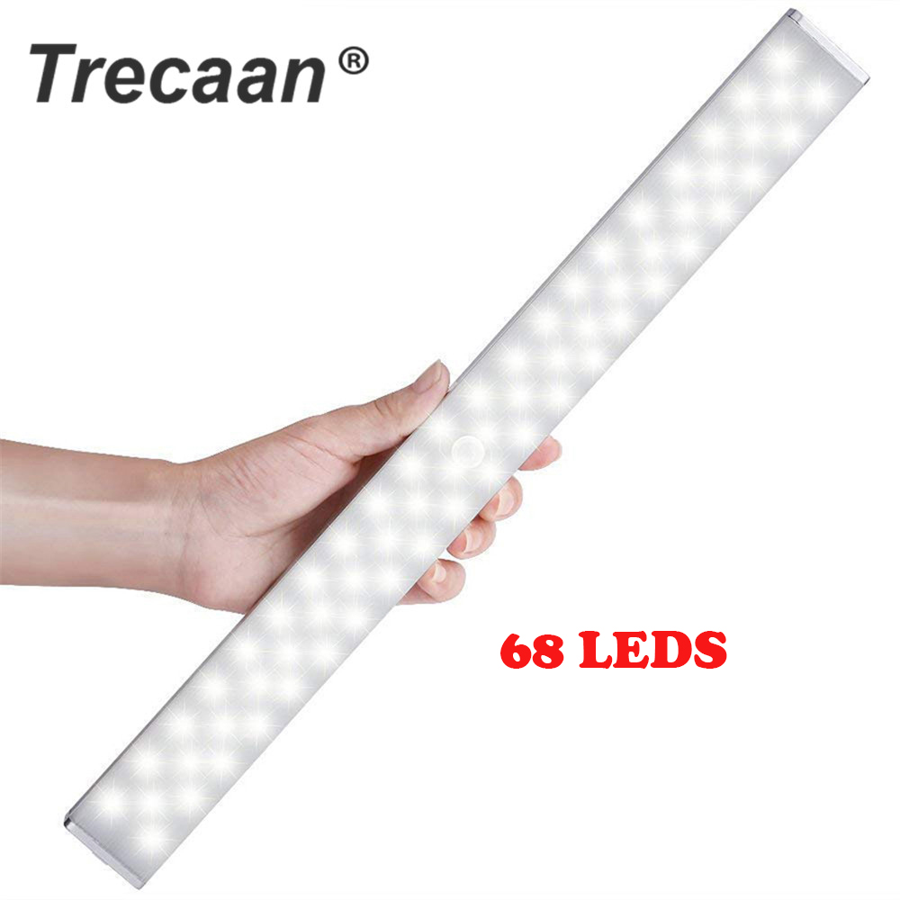 68 LED Under Cabinet Light USB Rechargeable Dimmable PIR Motion Sensor Cabinet Closet Night Light for Wardrobe Cupboard Kitchen