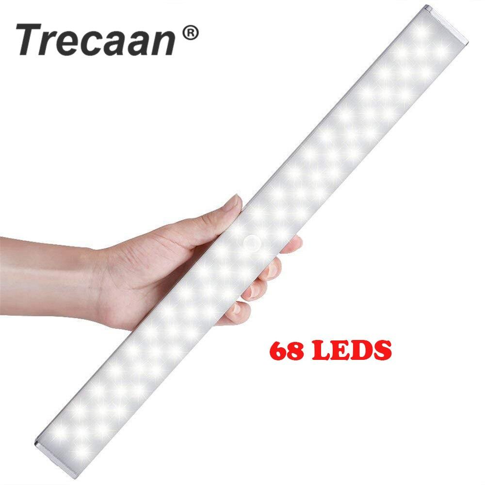 68 светодиодный светильник под шкаф USB Перезаряжаемый с регулируемой яркостью PIR датчик движения шкаф гардероб ночник для гардероба кухонный шкаф