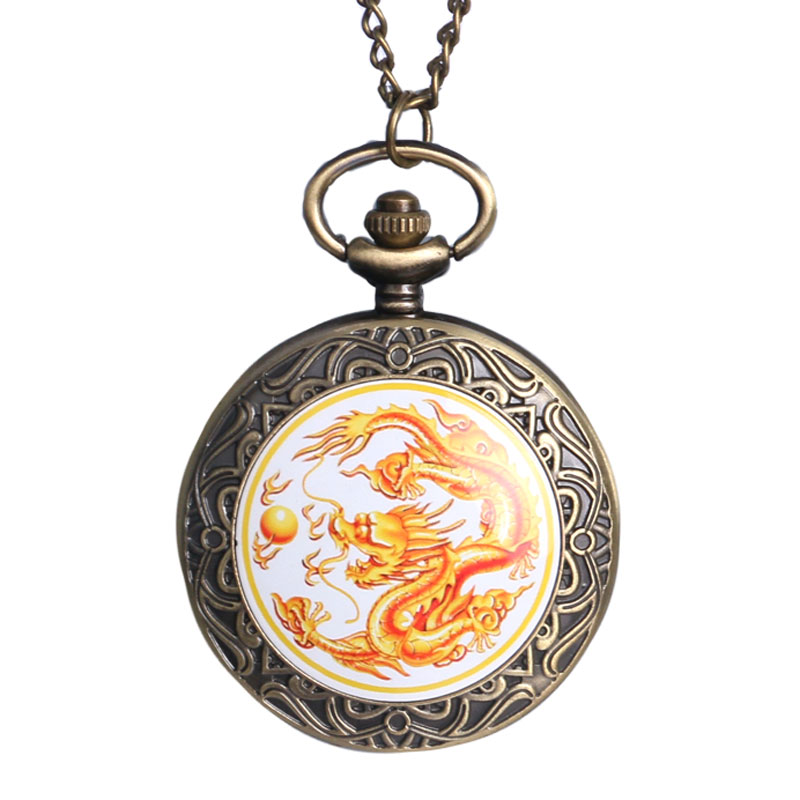 High Quality Chinese Dragon Fly Design Bronze Quality Necklace Watch Hot Sale Pocket Watch For Men/Women