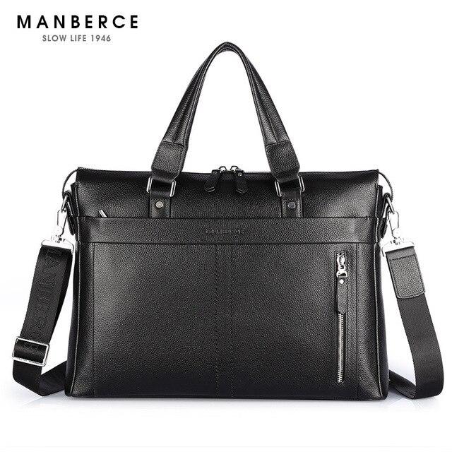 2017, Новая мода Натуральная кожа Мужская сумка известного бренда сумка сумки повседневные сумки 15.6 дюймов ноутбука Портфель мужской
