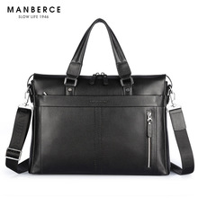 2017 New Fashion Genuine Leather Men Bag Famous Brand Shoulder Bag Messenger Bags Causal Handbag 15.6 inch Laptop Briefcase Male