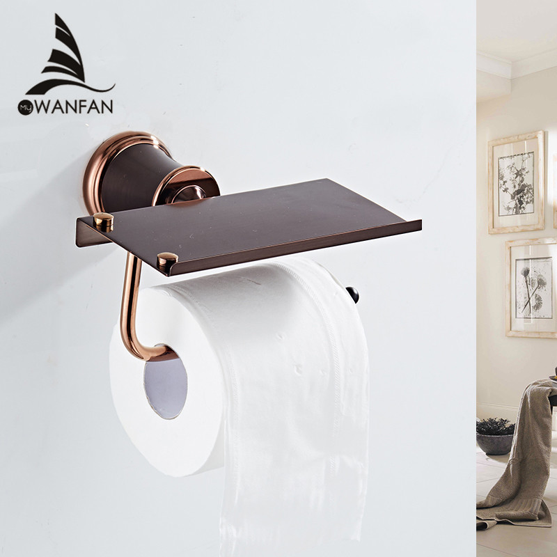 Paper Holders ORB With Phone Stand Solid Brass Black Toilet Roll Paper Holder Rack Wall Mounted Toilet Bathroom Shelf 5525 leyden copper 4 color toilet roll holder toilet paper holder with shelf wall mounted toilet paper rack bathroom accessories
