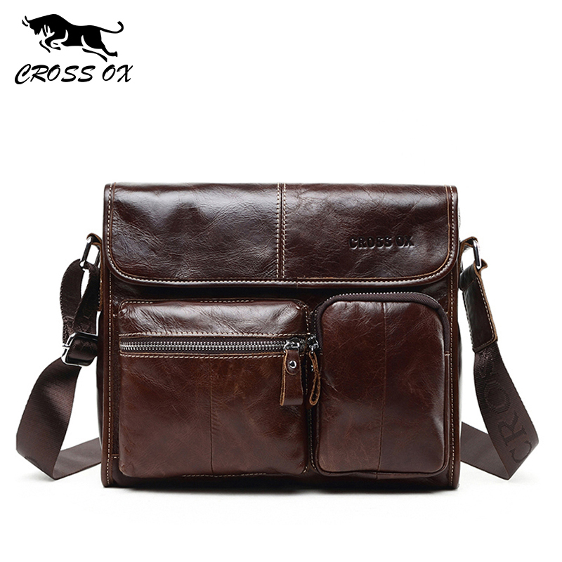 CROSS OX Hot Wax Leather Series Messenger Bag Men Bag Genuine Leather Shoulder Bags Cross Body Bags Vintage Satchel SL395M