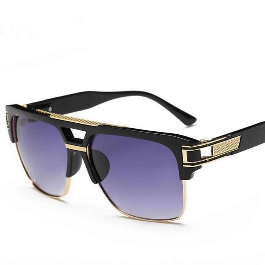 2017 Men sunglasses brand design big square Oversize semi rimless sun glasses Women men  ...