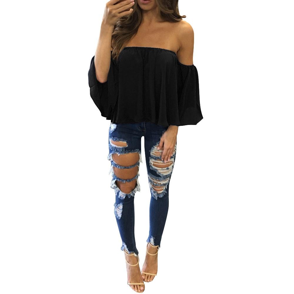 2018 nueva moda Negro Azul blanco camisa mujeres Casual Sexy camisa gasa del suéter de manga larga fuera del hombro Casual blusa A20