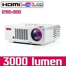 Byintek BL110 Cheapest 1280×800 Cine En Casa HDMI USB LCD LED 3000 lúmenes Proyector Portátil HD 1080 P Proyector Projetor
