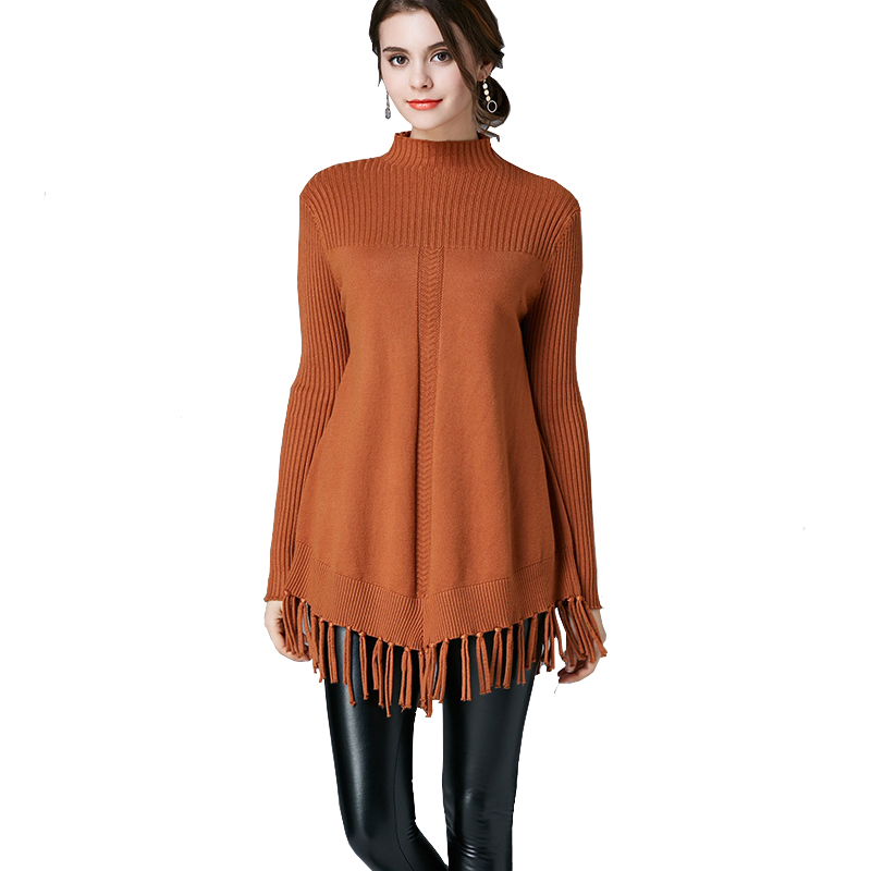 2017 Women larg Size Sweaters Winter Loose Tassel Trim Knitted Big Size Sweaters High Neck Warm Lady Knit Sweater Coat Pullover